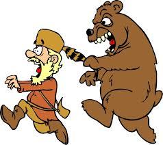 медведь гонится за охотником